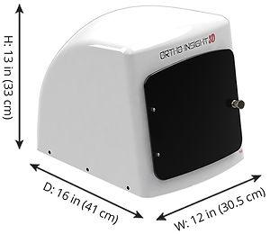 Dimensions of Ortho Insight 3D desktop laser scanner for making 3D digital models from plaster models & dental impressions.