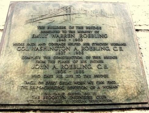 Placa conmemorativa en homenaje a Emily Warren Roebling