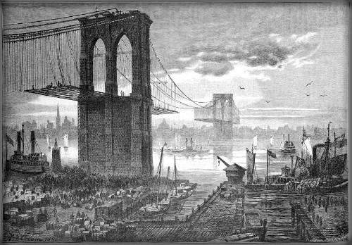 El puente de Brooklyn durante su construcción