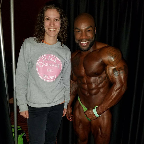 Big ups to @haskell_cannonier, Middleweight Champion at the NPC Emerald Cup 2017. Look out, I'm working on my bikini bod for next year! #emeraldcup2017 #BxGxE #npc17 #strengthnoweakness #bodybuilding #allnatural #muscle #gymmotivation #blackgrenadeentertainment #teamo #businesstravel
