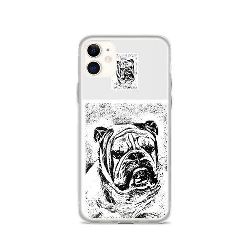 Simple Bulldog iPhone Case Black white and grey