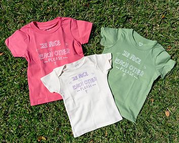 """Kids T-shirts """"Be Nice to Each Other Please"""" / キッズTシャツ 『ナイスにしましょう』"""