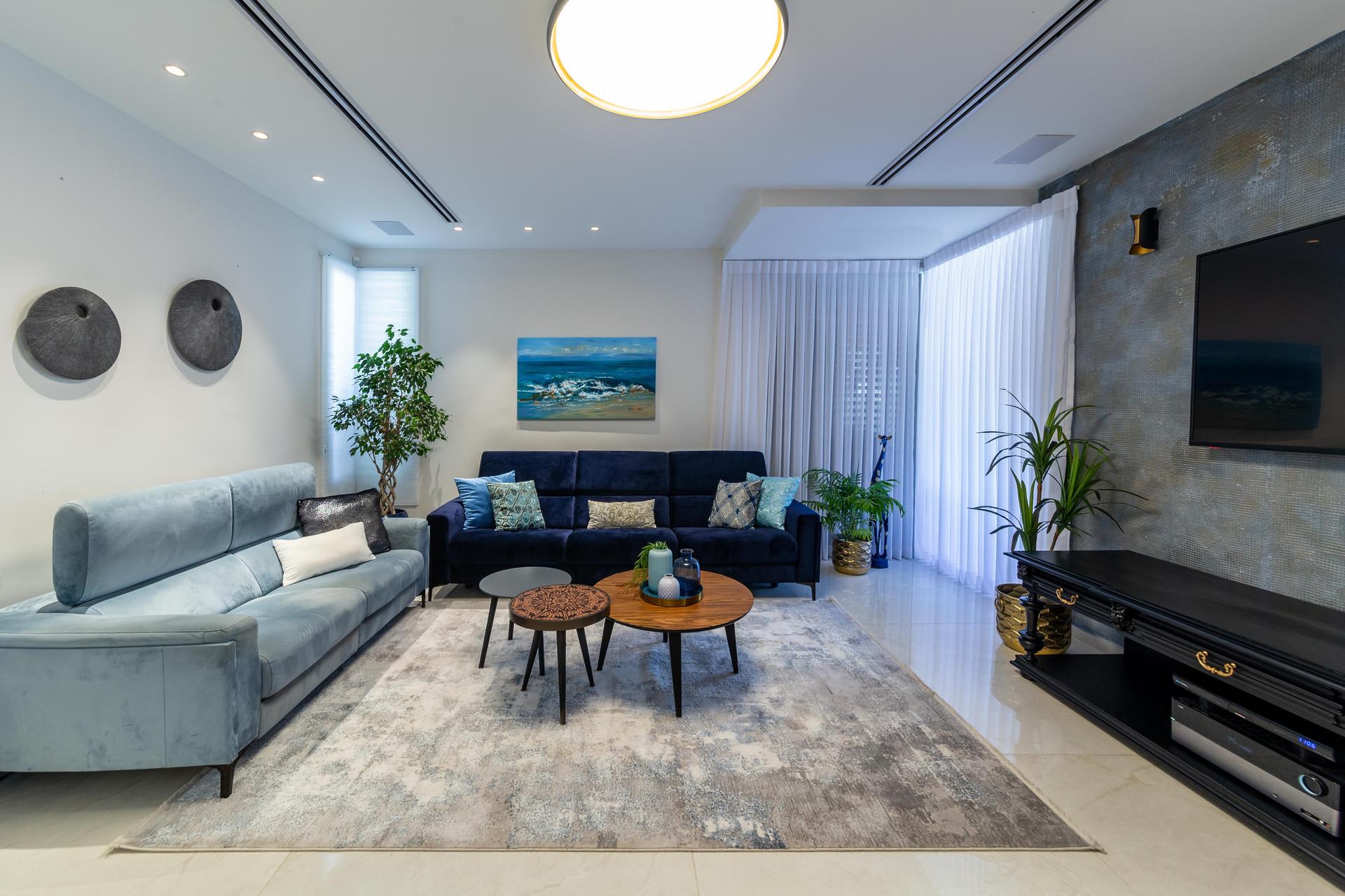עיצוב סלון בבית פרטי