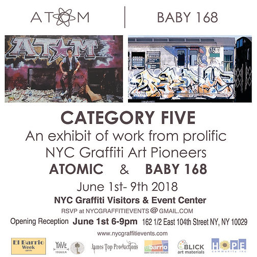 Graffiti Artist Atom and Baby 168 Opening Art show at the NYC Graffiti Arts Visitor Center in East Harlem New York 162 1/2 East 104th Street New York