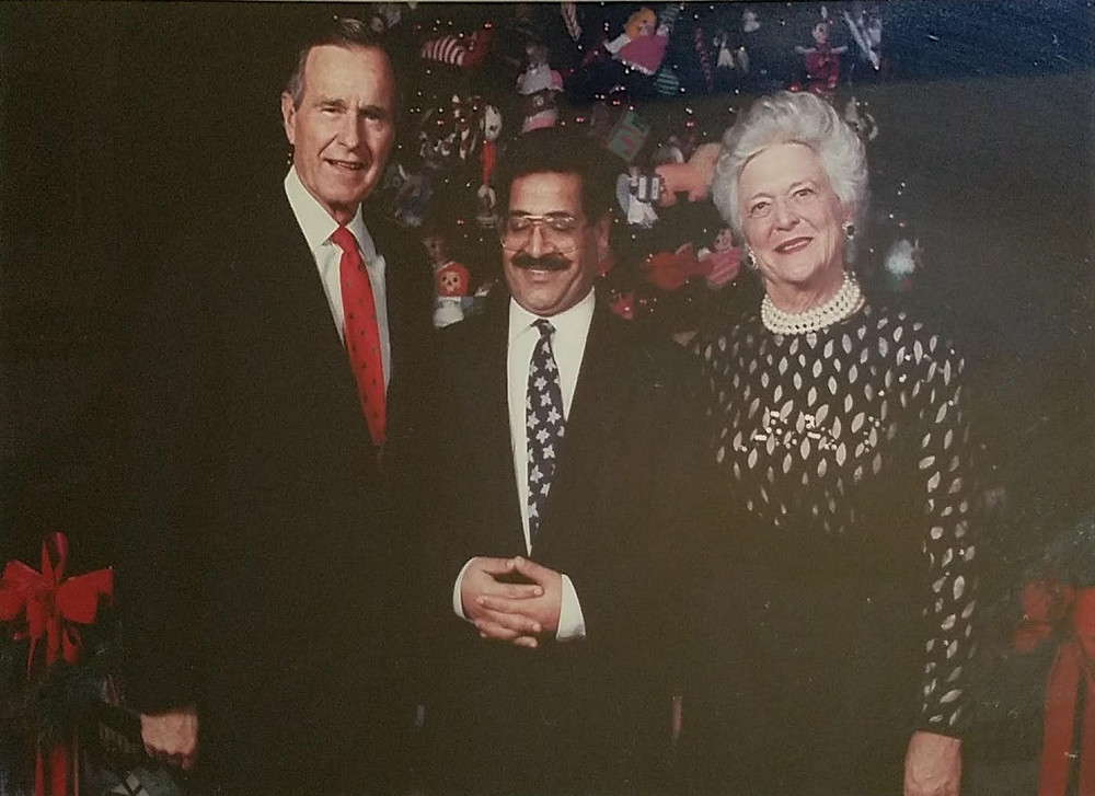 Dr. M Hossein Bor with president George H. W. Bush and the First Lady Barbara Bush, 1991.