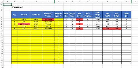 Excel Pallet Template