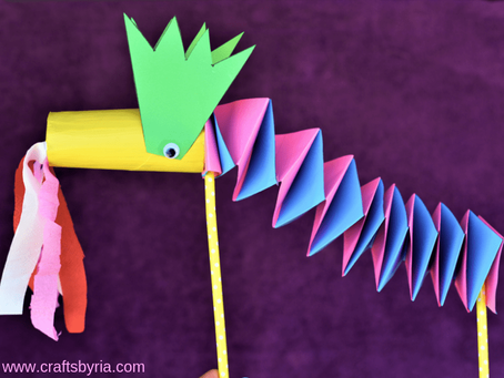 Easy Paper Dragon Puppet Craft for Kids