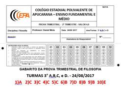 Gabarito da prova trimestral de filosofia turmas 3°A,B,C e D do Col. Polivalente