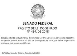 Senador Roberto Requião - Lex ridendo castigat mores, denominada - Lei Ônix Lorenzon nº 434/2018