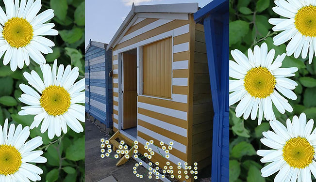 Daisy chain  is a yellow and white striped hut on the 5th. row at Southcliff , Walton on the naze