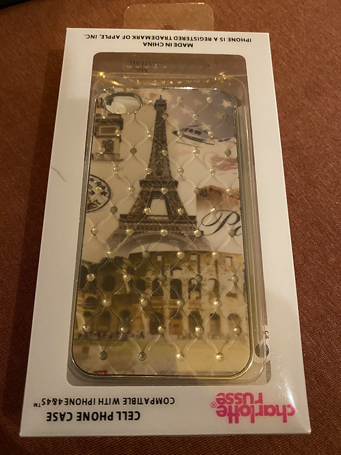 Charlotte Russe Paris Themed Cell Phone Case with Pin, Iphone 4 or 4s