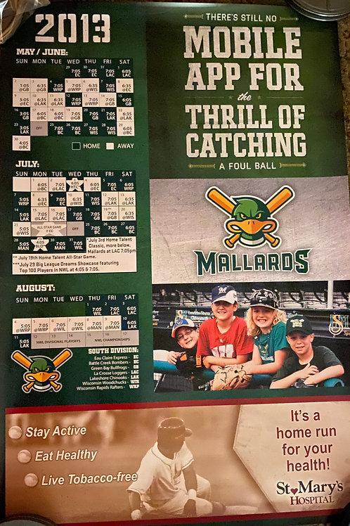 2013 Madison Mallards Season Schedule Poster Print 2ft x 3ft