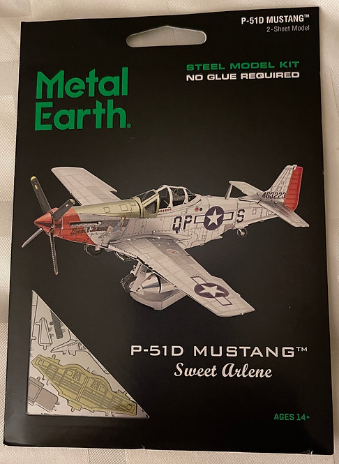 Fascinations Metal Earth P51 P-51 MUSTANG Plane 3D Steel Puzzle Model Kit MMS180