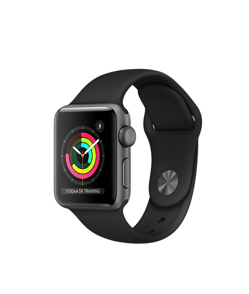 Apple Watch Series 3 Womens 38mm Space Gray Aluminum Case with Black Band