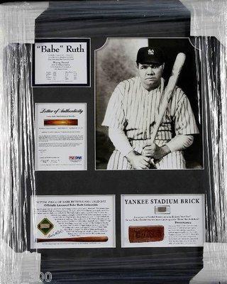 Babe Ruth Piece of Yankee Stadium Brick & Game Bat