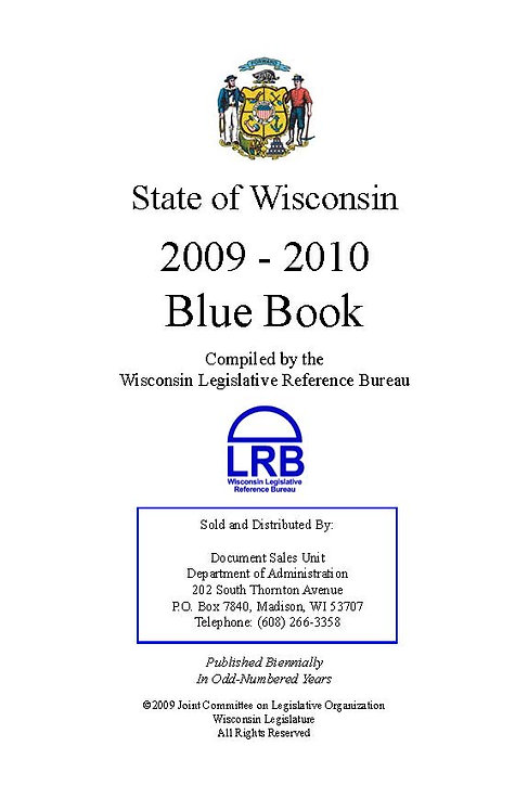 State Of Wisconsin Blue Book 2009-2010 Hard Cover