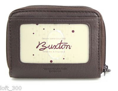 Buxton Leather Zippered Wizard Wallet Card Case