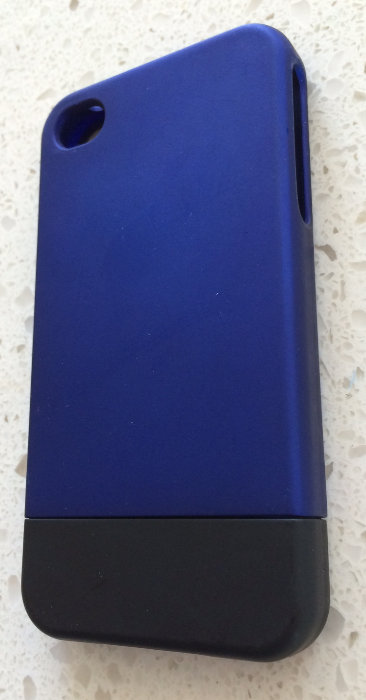 2 pc Blue & Black Soft Skinned Rigid iPhone 4 Case
