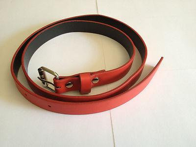 "Red 5/8"" XL Custom Handmade 3' Leather Belt/Collar"
