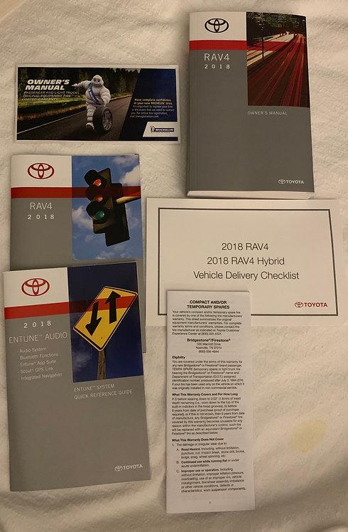2018 Toyota RAV4 Owners Manual Portfolio with Black Velcro Case