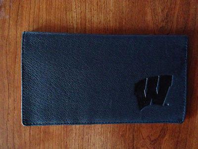 100% Leather Top Tear Black Checkbook Wallet - UW
