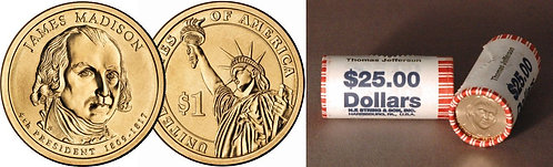 Presidential Dollars Madison & Monroe Dollar Cards