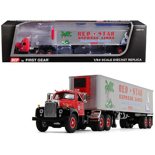 1/64 Scale Mack B-61 (B61) Day Cab with 40ft Vintage Reefer Trailer 'Red Star'