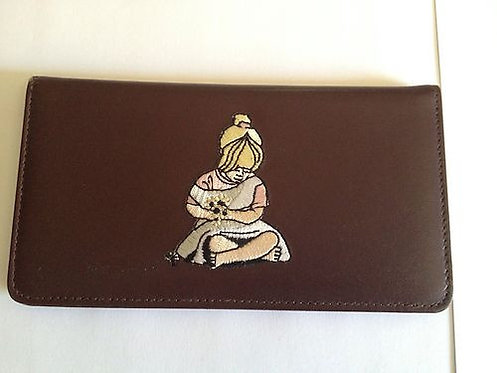 100% Leather Top Tear Checkbook Wallet - GIrl