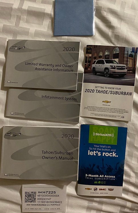2020 GM Tahoe/Suburban Owners Manual (Main Manual only, as Pictured)