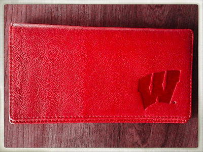 100% Leather Top Tear Red Checkbook Wallet - UW