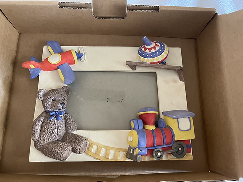 Tabletop Picture Frame - Child Themed Plane Train Bear Top - Ceramic