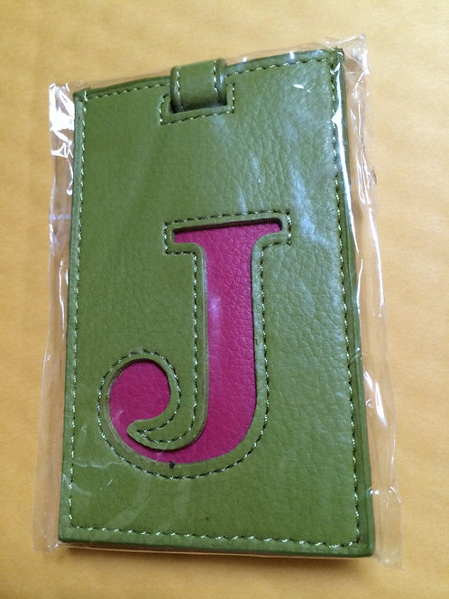 Ganz Initial 'J' Luggage Bag Tag, Green & Pink
