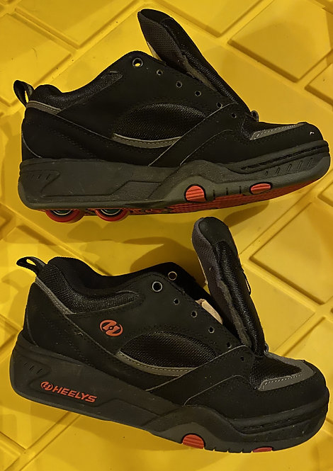 Heelys Mens Boys Skate Shoes Black Red Style #7231 Skater Double Wheeled Size 6