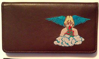 100% Leather Top Tear Checkbook Wallet - Angel