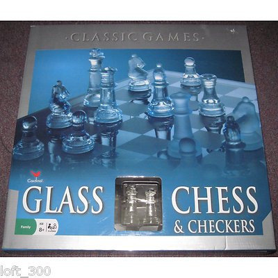 Cardinal 82-38 Elegant Glass Chess & Checkers SGB