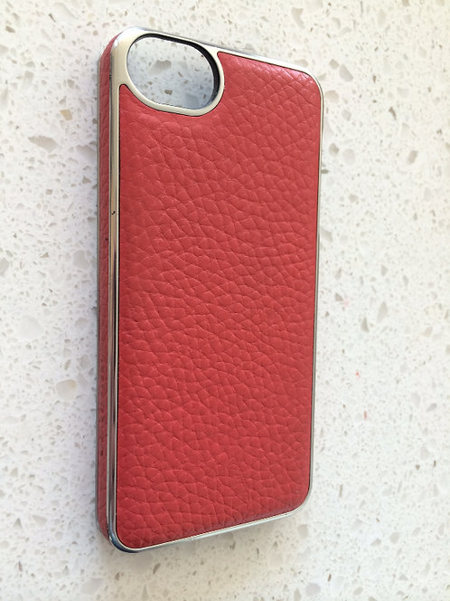 Chrome & Red Patterned Leather iPhone 5/5c/5s Case