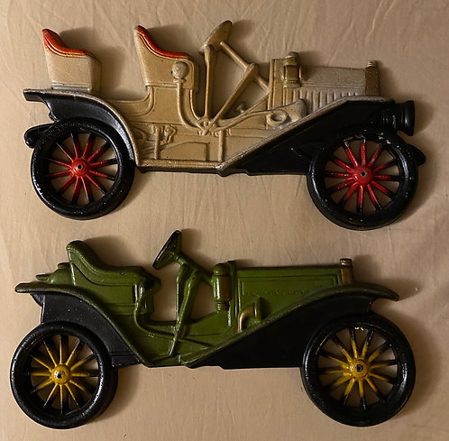 Cast Old Time Car Wall Decor Art - Lot of 2