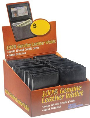 Leather ID Wallets in 24pc Merchandiser Display