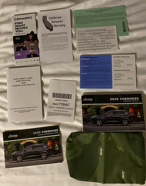 2020 Jeep Cherokee Owner's Manual Kit P68457739AC