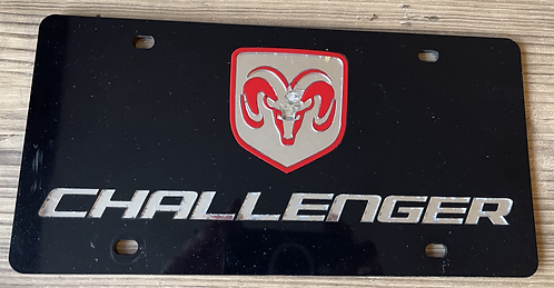 Front Auto Vanity License Plate Badge - Challenger with Ram Head