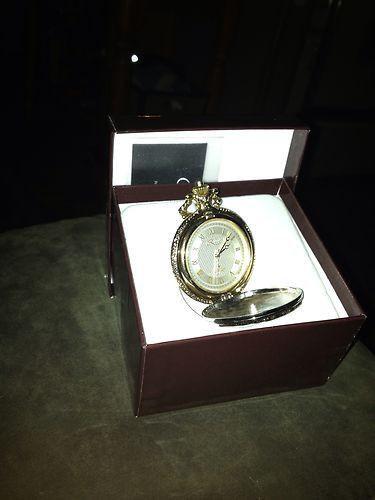 Croton Reliance Gold Tone Pocket Watch & Chain