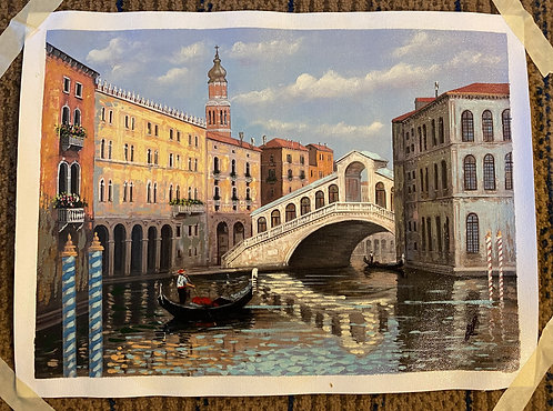 Venice Italy Canal Art Print (with piloted Gondola)