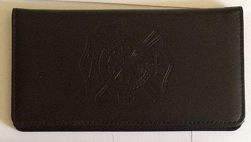 100% Leather Top Tear Checkbook Wallet - FIre