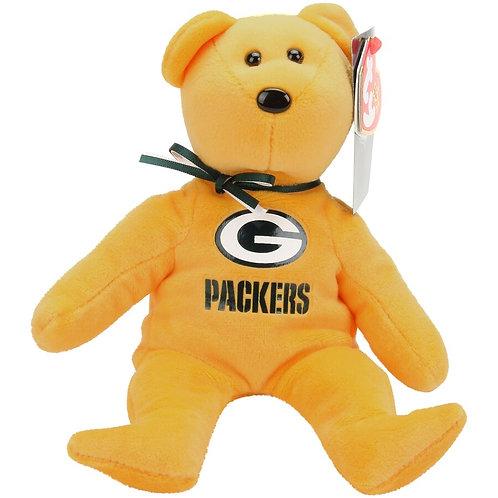 "TY Beanie Baby ~ Green Bay Packers 8"" NFL Football Bear ~ 2015"