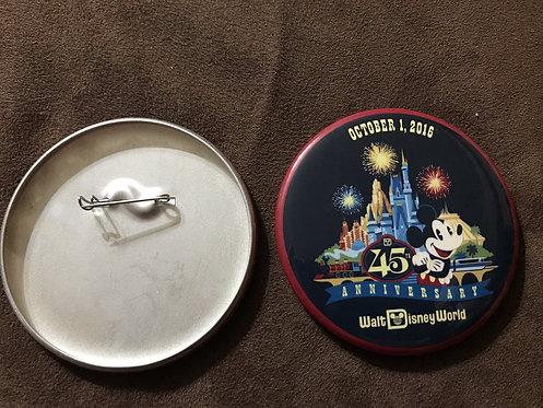 "Walt Disney World 45th Anniversary 3"" Pin Button"