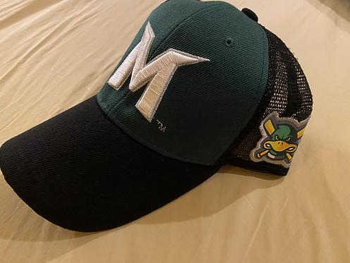 Madison Mallards Green Black & White Logo'd Baseball Cap - Adults