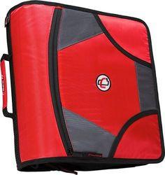 Case-It D185 XL Zippered Binder 5 Tab Folder Red