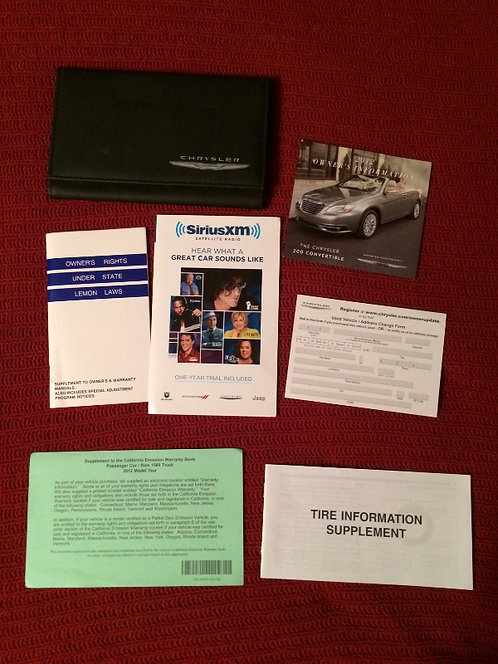 2012 Chrysler 200 Owners Manuals Kit & DVD in Case