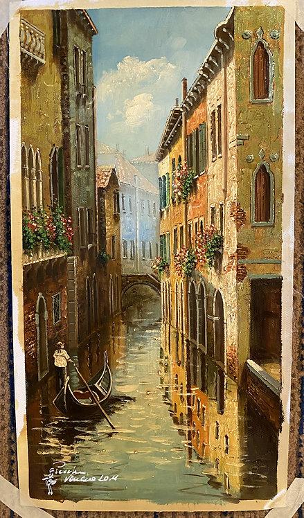 Venice Italy Canal Art Print (piloted Gondola)