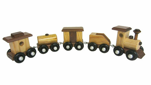 "Amish-Made Wooden 5-Car 14"" Toy Train Play Set, Ash and Walnut Wood"